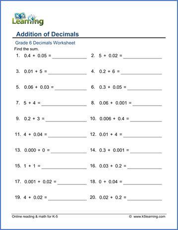 grade  decimals worksheet addition  decimals module