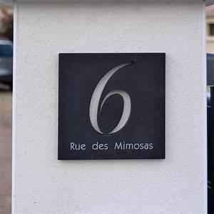 Plaque De Maison Ardoise Noir  Num U00e9ro 6 D U00e9coup U00e9