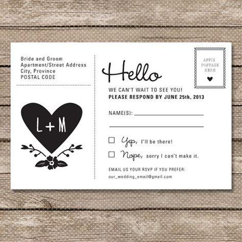 wedding rsvp postcard printable  garden