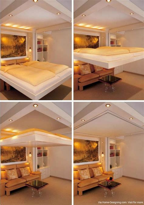 save space in bedroom space saving concealed in ceiling bed