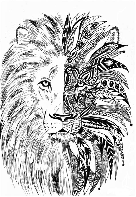 antistress lion coloring pages    print