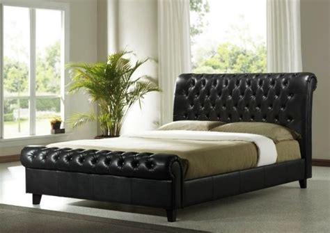 richmond sleigh bed   modern brown faux leather