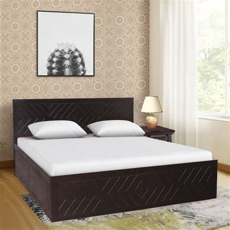 buy tuscany solid wood box storage queen size bed  dark