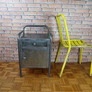 Table De Nuit Industriel : table de nuit meuble industriel ibt003 la boutique vintage ~ Teatrodelosmanantiales.com Idées de Décoration