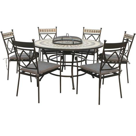 lg outdoor casablanca 6 seat firepit garden dining set