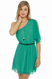 Cute One Shoulder Dress - Teal Dress - Belted Dress - $42.00