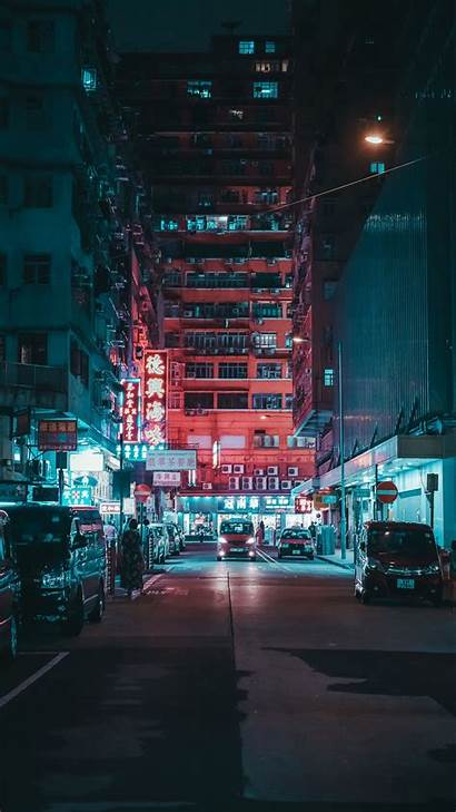 Street Night Lights Galaxy Cars Buildings Edge
