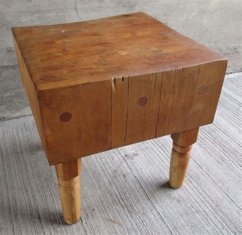 "Vintage Antique Solid Maple Butcher Block Table  31"" X 30"