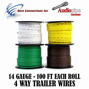 Trailer Light Cable Wiring For Harness 100ft Spools 14 Gauge 4 Wire 4 Colors 719906866367