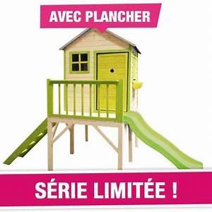 Portique Bois Pas Cher : maison cottage sur pilotis avec toboggan couleur garden ~ Premium-room.com Idées de Décoration