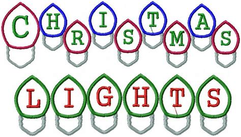 christmas light bulb font applique letters machine embroidery design bling sass sparkle