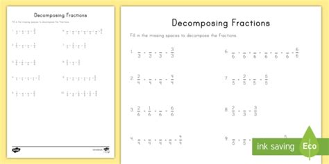 decomposing fractions worksheet worksheet craft fractions decomposing