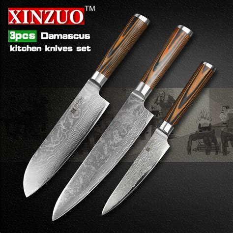 knife japanese kitchen damascus knives chef vg10 pcs utility layer handle steel cleaver trade
