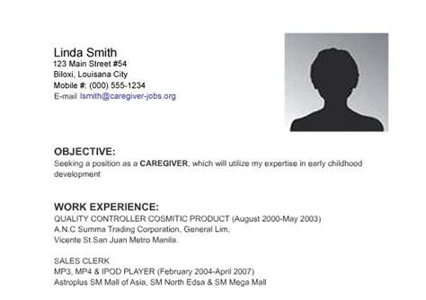 caregiver exle of caregiver resume sles