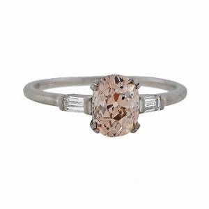 Art deco champagne colored cushion cut diamond engagement for Colored diamond wedding ring