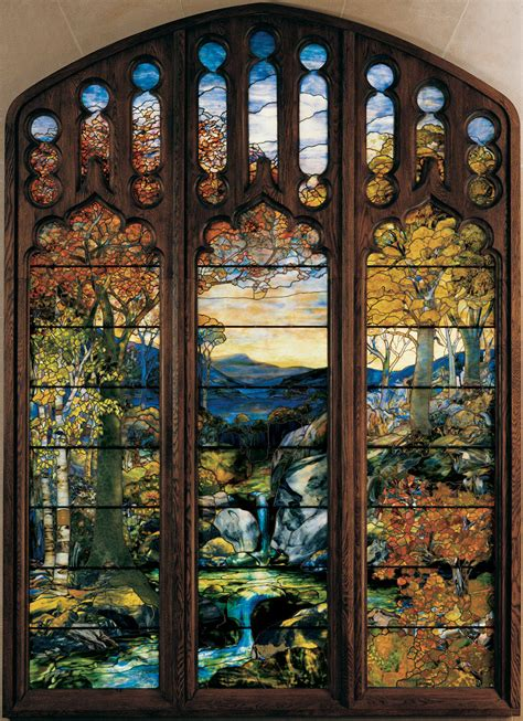 tiffany stained glass l autumn landscape 1923 24 louis comfort tiffany tiffany