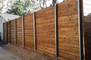 Horizontal, Fence, With, Metal, Posts, U2022, Fences, Design