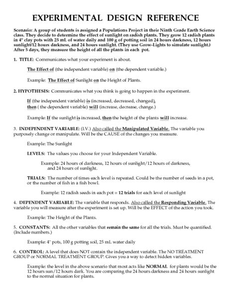 Experimental Design Worksheet Answers Experimental Design Worksheet Images