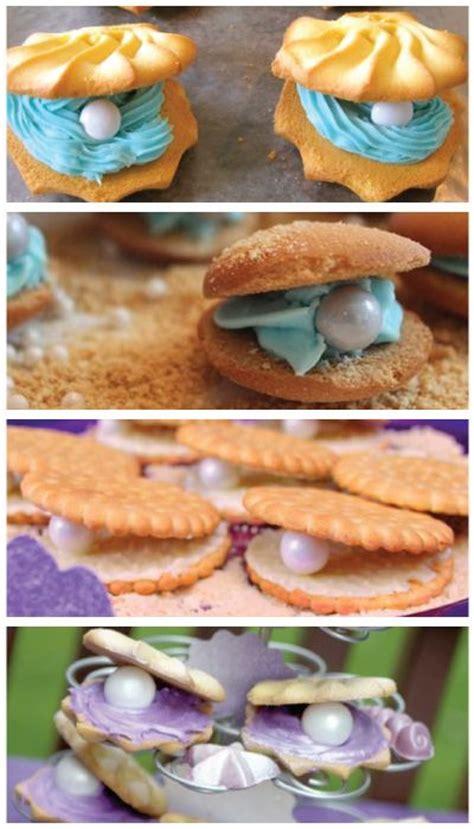 mermaid party food oyster pearl cookies diy recipe  easy