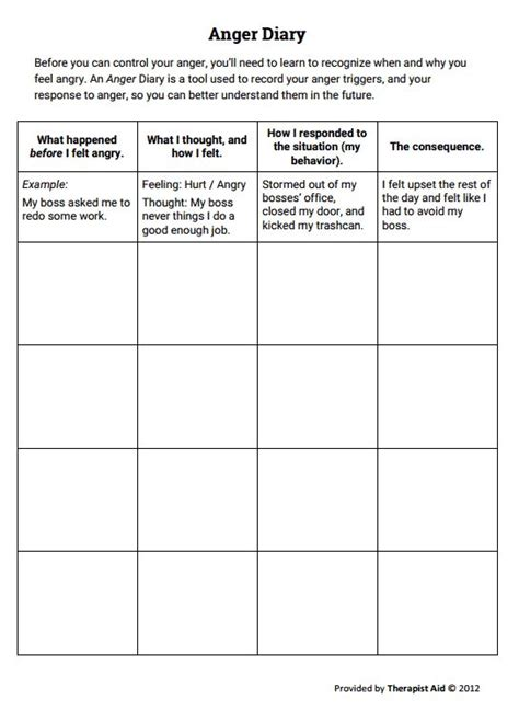 stress management anger diary worksheet therapist