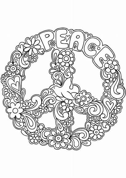 Coloring Peace Sign Hippie Pages Printable Zentangle