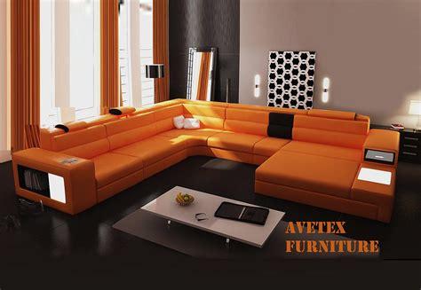 Orange Contemporary Sofa by Rexona Orange Leather Sofa Sectionals