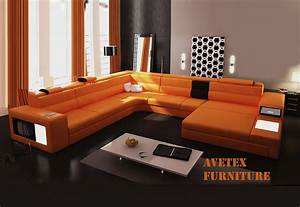 Rexona orange leather sofa sectionals for Contemporary orange sectional sofa