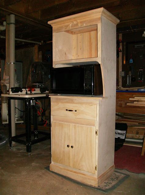 microwave hutch woodworking plan    wooden