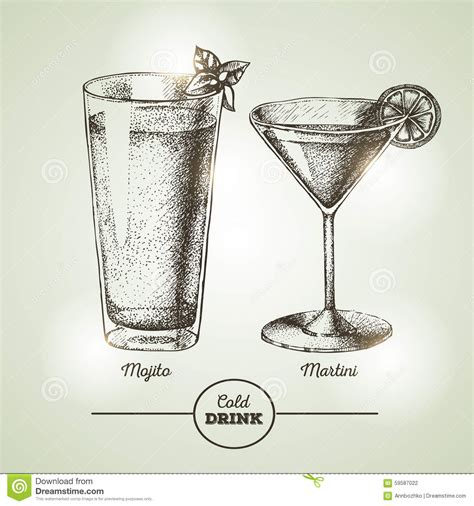 vintage cocktail cocktail sketch stock vector image 59587022