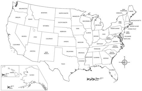 Printable United States Map Coloring Page