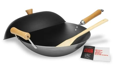 wok bottom flat steel carbon chen joyce woks inch cutlery stir contains cutleryandmore fry