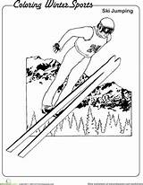 Coloring Ski Jumping Winter Worksheet Sports Pages Worksheets Education Olympics Sheet sketch template