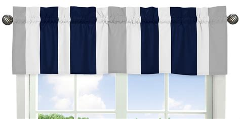 And Gray Valance by Sweet Jojo Designs Navy Blue And Gray Stripe Collection