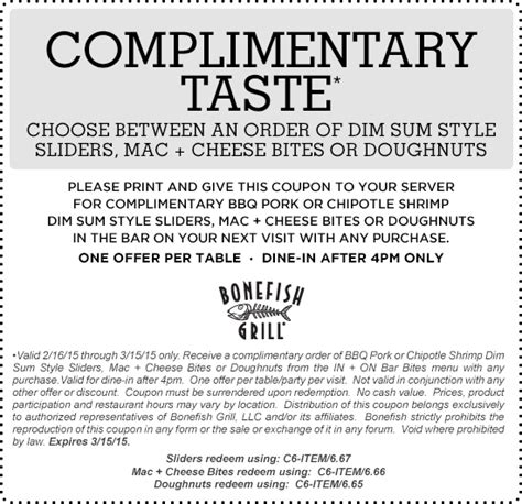 appetizer  bonefish grill  coupon