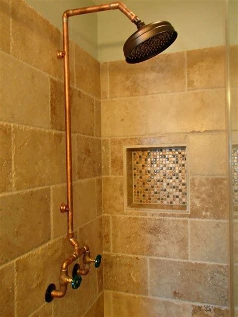 Refinishing Brass Bathroom Fixtures by Exposed Copper Shower Home Design Ideas Pictures Remodel