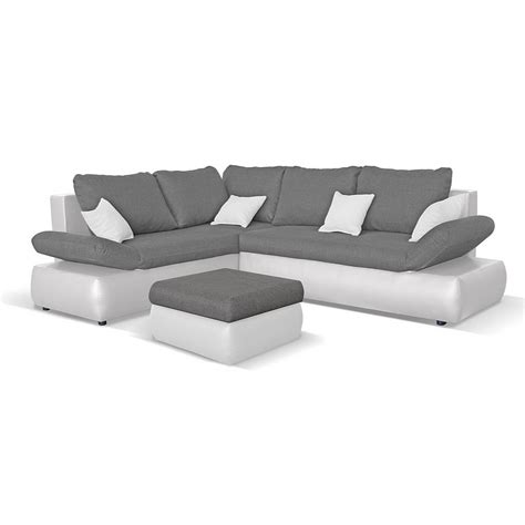 canap 233 d 180 angle convertible avec repose pieds cuir