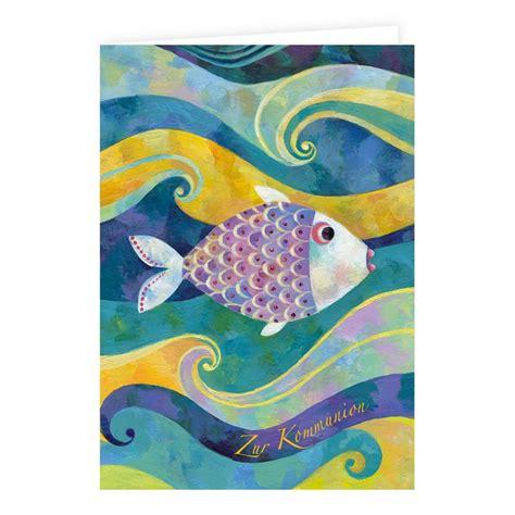 klappkarte zur kommunion mit fisch