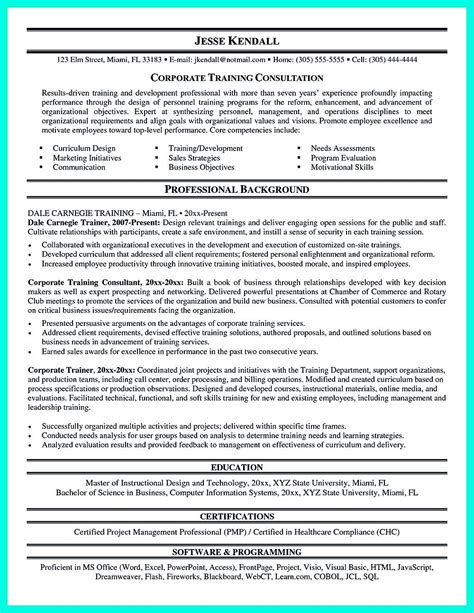 Trainer Resume Sle by Corporate Trainer Resume Can Be In Chronological Or