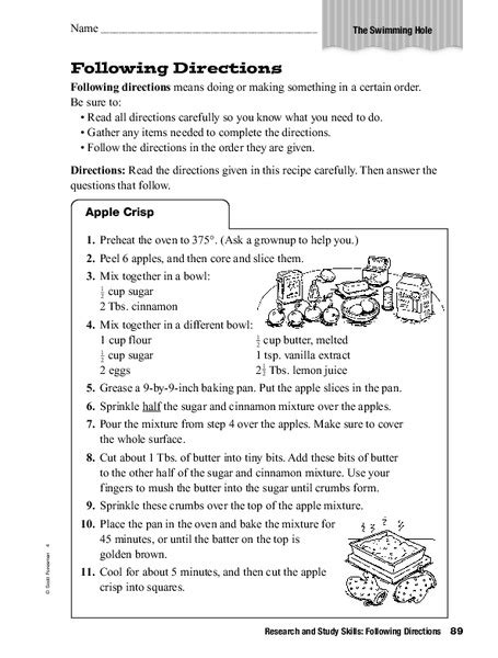 research and study skills following directions worksheet