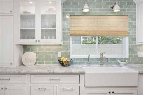 white and green kitchen with farmhouse sink transitional kitchen
