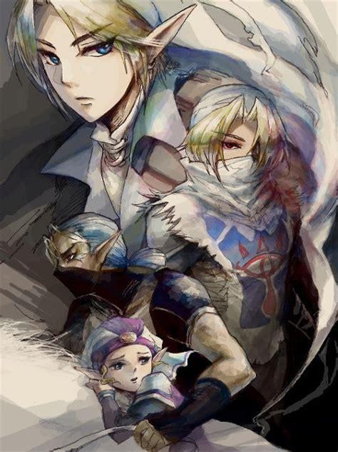 Adult Link Sheik Impa And Young Princess Zelda The
