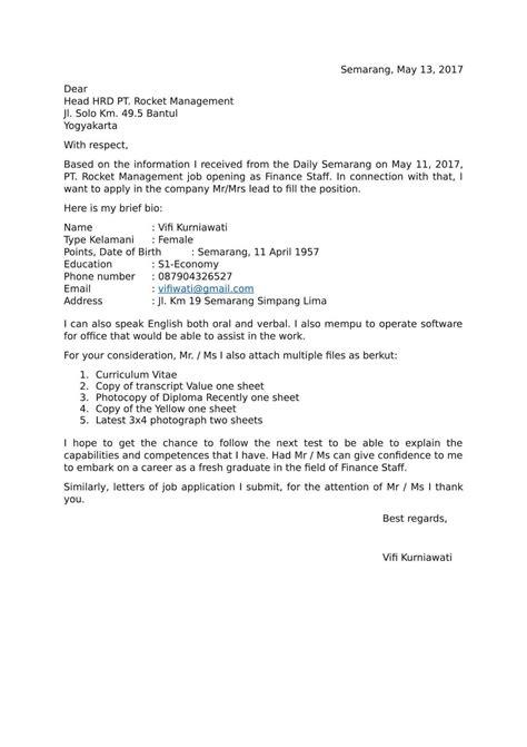 Contoh Surat Lamaran Cpns Kemenristek Dikti by Contoh Surat Lamaran Pekerjaan Dalam Bahasa Inggris Dan
