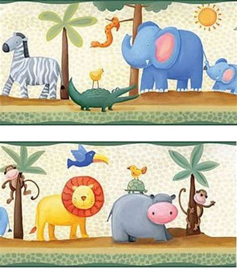 Childrens Animal Wallpaper Uk - jungle animal border with lions elephants zebras