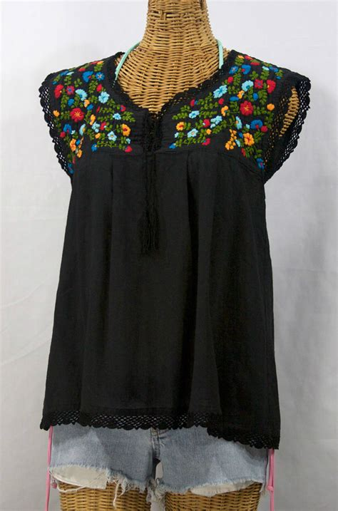 embroidered peasant blouse quot la marbrisa quot embroidered sleeveless peasant blouse top