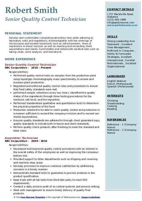 quality control technician resume samples qwikresume