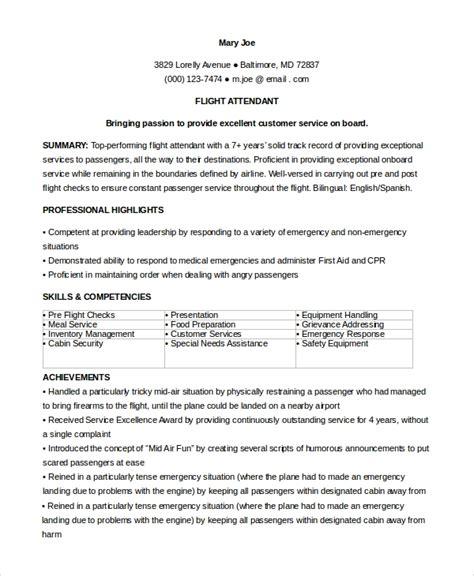 Flight Attendant Resume by Sle Flight Attendant Resume 6 Exles In Pdf Word