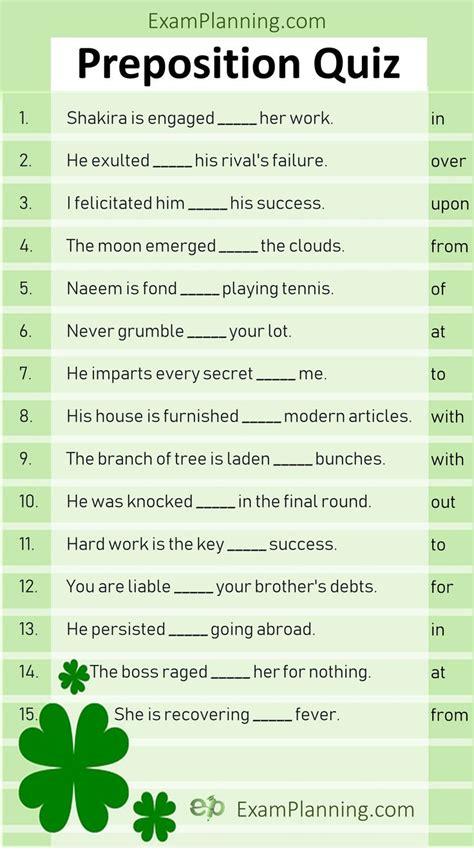 Preposition Quiz (Online Test)   Prepositions, English ...