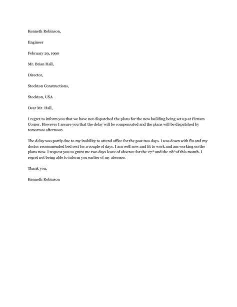 application letter  leave  absence  school