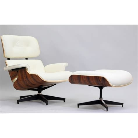 eaze white leather palisander wood lounge chair