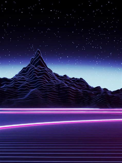 desktop neon mountain wallpaper dark